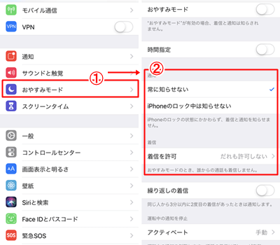 iPhoneの電話/通知をオフにする方法